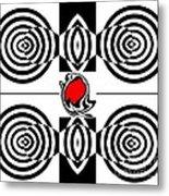 Geometric Art Black White Red Abstract No.382. Metal Print by Drinka Mercep