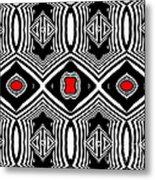 Pattern Black White Red Op Art No.389. Metal Print by Drinka Mercep