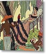 George Barbier. Spanish Lady In Hammoc With Parrot.  Metal Print