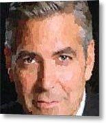 George Clooney Portrait Metal Print