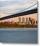 George Washington Bridge In Autumn Metal Print
