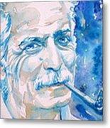 Georges Brassens - Watercolor Portrait Metal Print