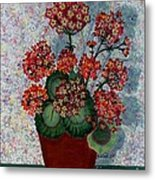 Geraniums In A Copper Pot Metal Print