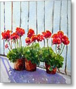 Geraniums On My Balcony Metal Print