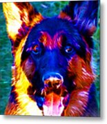 German Shepard - Electric Metal Print by Wingsdomain Art and Photography