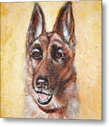 German Shepard Portrait Lala Metal Print