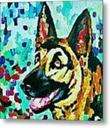 German Shepard Watercolor Metal Print