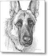 German Shepherd Face Pencil Portrait Metal Print