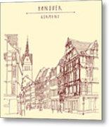 German Town, Walking Street, Timber Metal Print