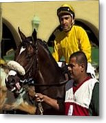 Getting Ready - Jockey And Horse For The Race Metal Print
