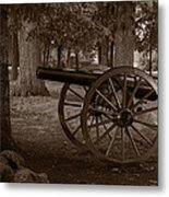 Gettysburg Cannon B W Metal Print
