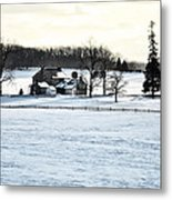 Gettysburg Farm In The Snow Metal Print