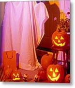 Ghost With Pumpkins Metal Print by Garry Gay