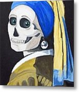Ghoul With Pearl Earring Metal Print