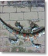 Giant Lizard On A Wall Metal Print