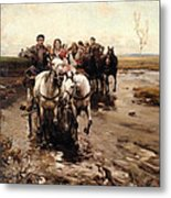 Giddy Up Metal Print by Alfred von Wierusz-Kowalski