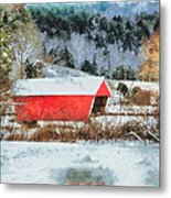 Gifford Covered Bridge In Winter Metal Print