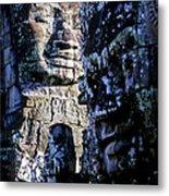 Gigantic Face Statues At Khmer Temple Angkor Wat Ruins Cambodi Metal Print