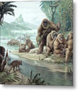Gigantopithecus With Homo Erectus Metal Print