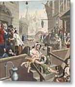 Gin Lane, Illustration From Hogarth Metal Print