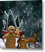Gingerbread Family In Snow Metal Print