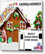 Gingerbread House Xmas Card 2 Metal Print