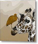 Giraffe And Friend Metal Print