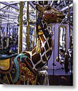 Giraffe Carousel Ride Metal Print