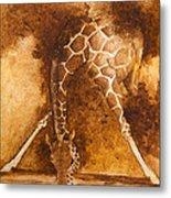 Giraffe Drinking Metal Print by Kim Lagerhem