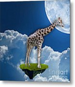 Giraffe Flying High Metal Print