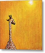 Giraffe Looking Back Metal Print