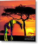 Giraffe Painting Metal Print