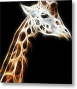 Giraffe Portrait Fractal Metal Print