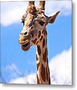 Giraffe Speak Metal Print