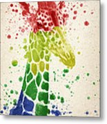 Giraffe Splash Metal Print by Aged Pixel
