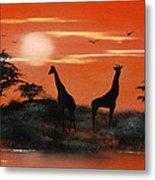 Serengeti Sunset Sold Metal Print