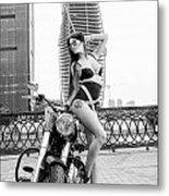Girl And Harley-davidson Metal Print