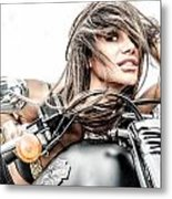 Girl And Harley Metal Print