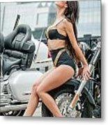Girl And Motorcycles Metal Print