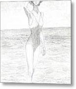 Girl And Sea Metal Print