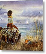 Girl And The Ocean Sitting On The Rock Metal Print