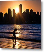 Girl And The Sunset Metal Print