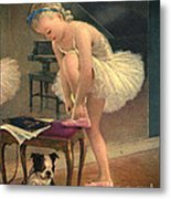 Girl Ballet Dancer Ties Her Slipper With Boston Terrier Dog Metal Print
