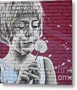 Girl Blowing A Dandelion Metal Print