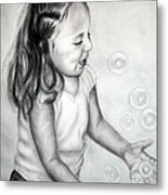 Girl Blowing Bubbles II Metal Print
