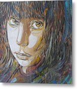 Girl By C215 Metal Print
