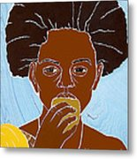 Girl Eating Mango Metal Print by Martha Rucker