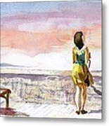 Girl Enjoying The View Metal Print