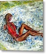 Girl In A Red Swimsuit Metal Print