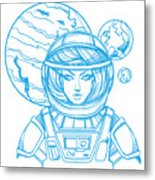 Girl In A Spacesuit For T-shirt Design Metal Print